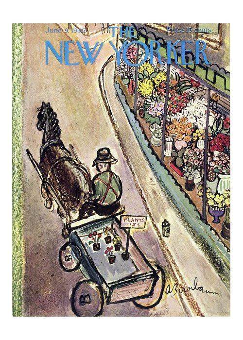 Flowers Greeting Card featuring the painting New Yorker June 9 1945 by Aaron Birnbaum