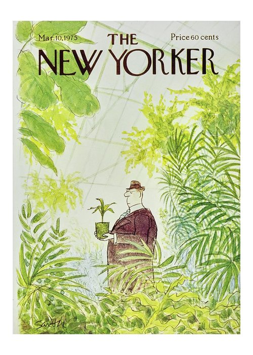 Illustration Greeting Card featuring the painting New Yorker March 10th 1975 by Charles D Saxon
