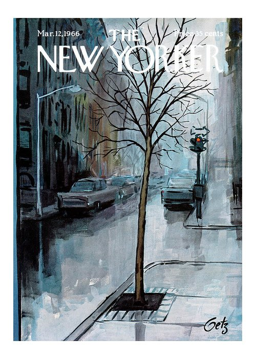 Rain Greeting Card featuring the painting New Yorker March 12th, 1966 by Arthur Getz