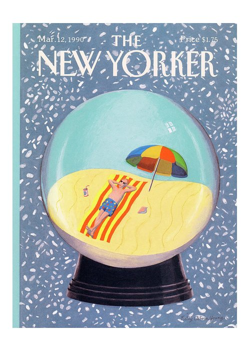 Leisure Greeting Card featuring the painting New Yorker March 12th, 1990 by Kathy Osborn