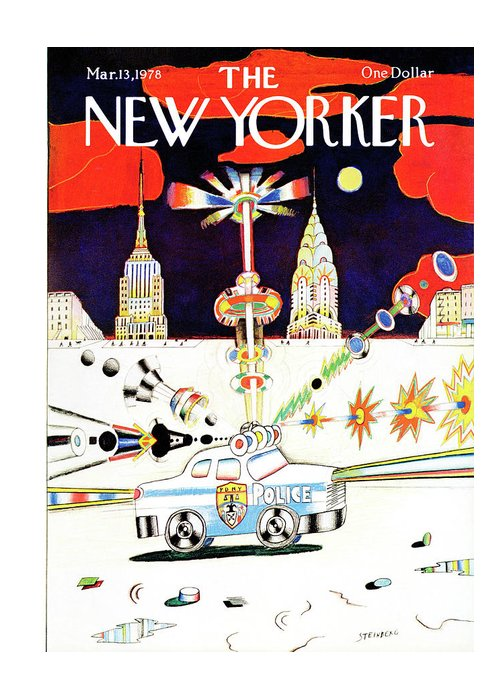 Saul Steinberg 50413 Steinbergattny  Greeting Card featuring the painting New Yorker March 13th, 1978 by Saul Steinberg