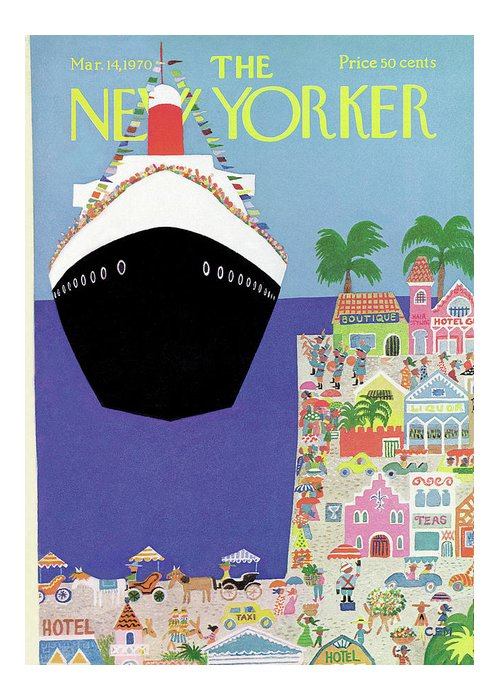 Travel Greeting Card featuring the painting New Yorker March 14th, 1970 by Charles E Martin