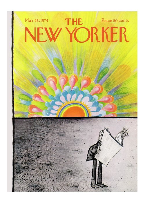 Winter Greeting Card featuring the painting New Yorker March 18th, 1974 by Ronald Searle
