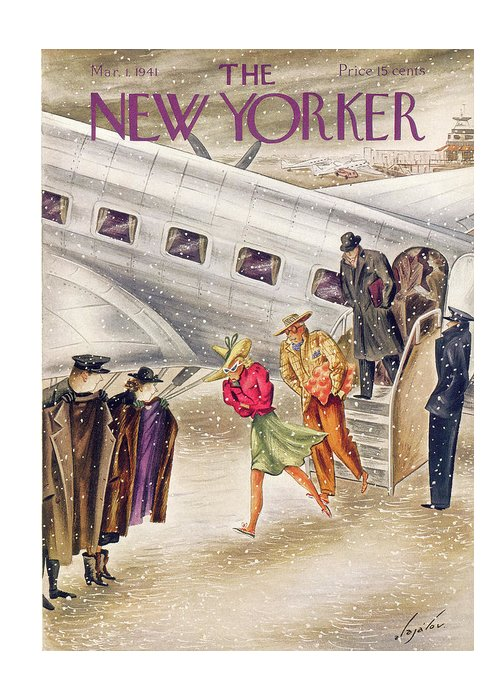 Constantine Alajalov Cal Greeting Card featuring the painting New Yorker March 1, 1941 by Constantin Alajalov