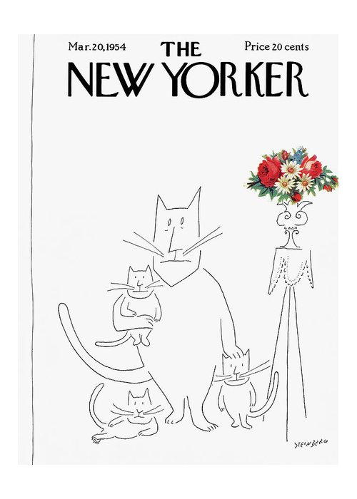 Saul Steinberg 49333 Steinbergattny Greeting Card featuring the painting New Yorker March 20th, 1954 by Saul Steinberg