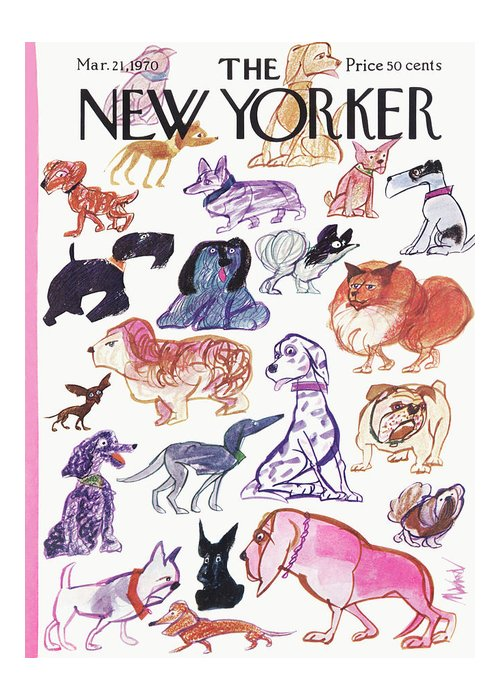 Animals Greeting Card featuring the painting New Yorker March 21st, 1970 by Kenneth Mahood