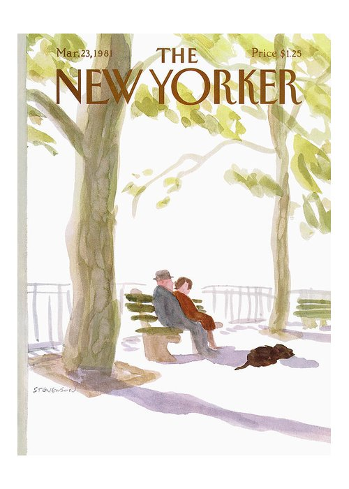Nature Greeting Card featuring the painting New Yorker March 23rd, 1981 by James Stevenson
