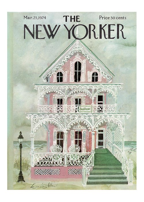 Spring Greeting Card featuring the painting New Yorker March 25th, 1974 by Laura Jean Allen