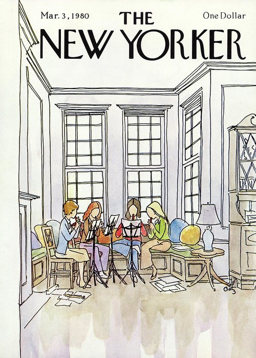 (a Quartet Of Women Playing Recorders In A House.) People Music Entertainment Leisure Hoobies Household Interior Arthur Getz Agt Artkey 50470 Greeting Card featuring the painting New Yorker March 3rd, 1980 by Arthur Getz
