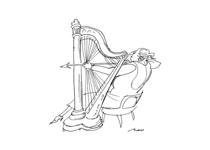 No Caption A Large Lady Harpist Prepares To Shoot An Arrow Greeting Card featuring the drawing New Yorker March 4th, 1991 by Al Ross