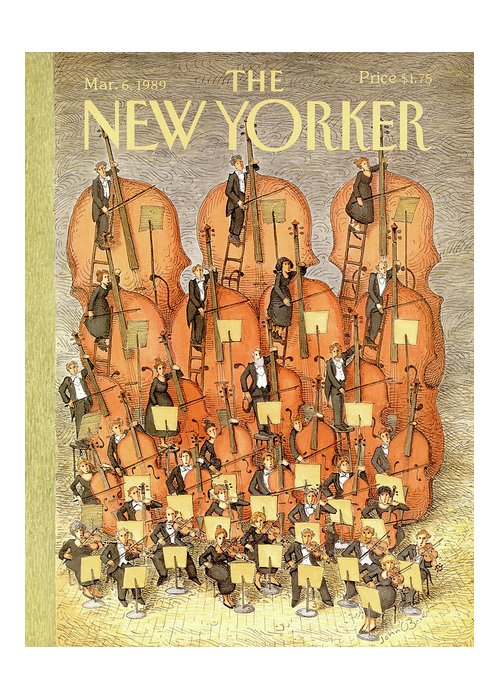 (an Orchestra Plays String Instruments That Increase In Size From The Front Row To The Back.) Entertainment Greeting Card featuring the painting New Yorker March 6th, 1989 by John O'Brien