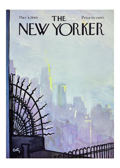 Illustration Greeting Card featuring the painting New Yorker March 8th 1969 by Arthur Getz