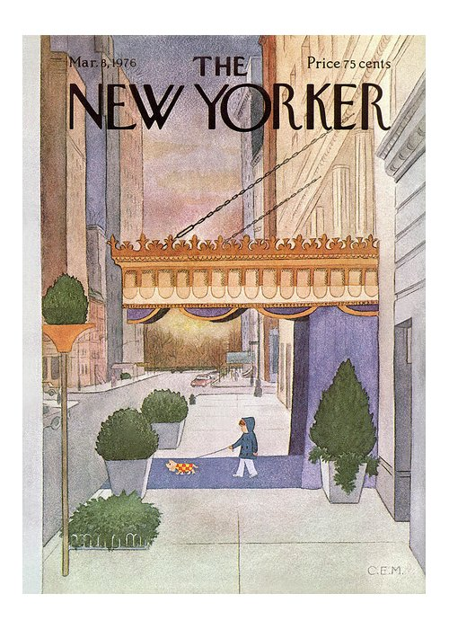 Upper East Side Greeting Card featuring the painting New Yorker March 8th, 1976 by Charles E Martin