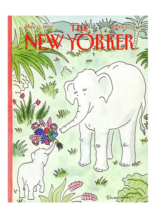 A Young Elephant Holds Out His Trunk Greeting Card featuring the painting New Yorker May 11th, 1992 by Danny Shanahan