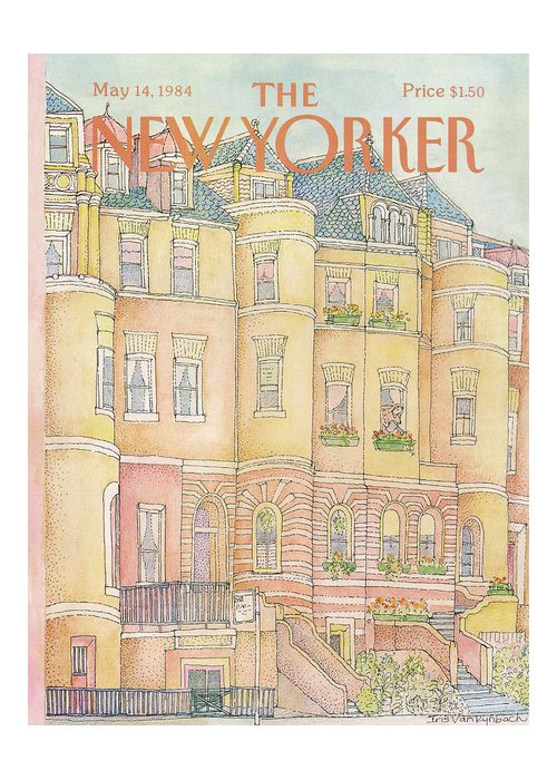 New York City Greeting Card featuring the painting New Yorker May 14th, 1984 by Iris VanRynbach
