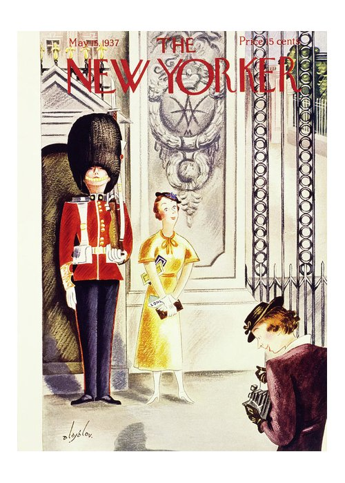 Travel Greeting Card featuring the painting New Yorker May 15 1937 by Constantin Alajalov