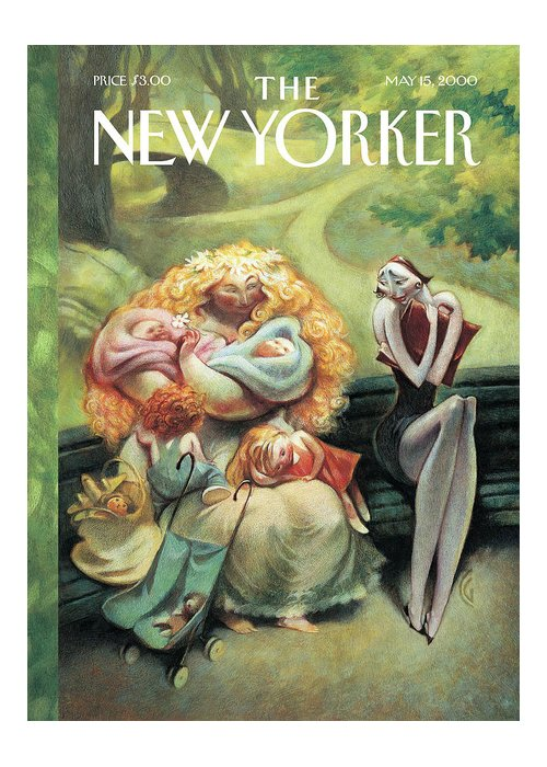 New yorker may 15th 2000 greeting card for sale by carter goodrich mother nature mother motherhood park children baby kids skinny women women bench baby babies stroller long m4hsunfo