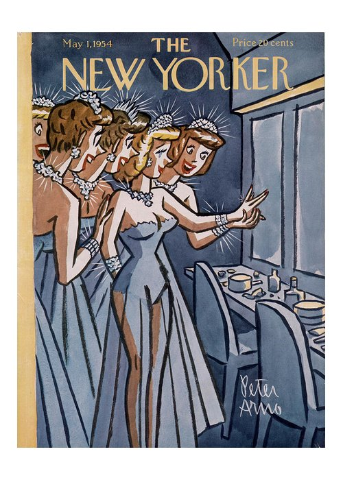 Women Greeting Card featuring the painting New Yorker May 1st, 1954 by Peter Arno