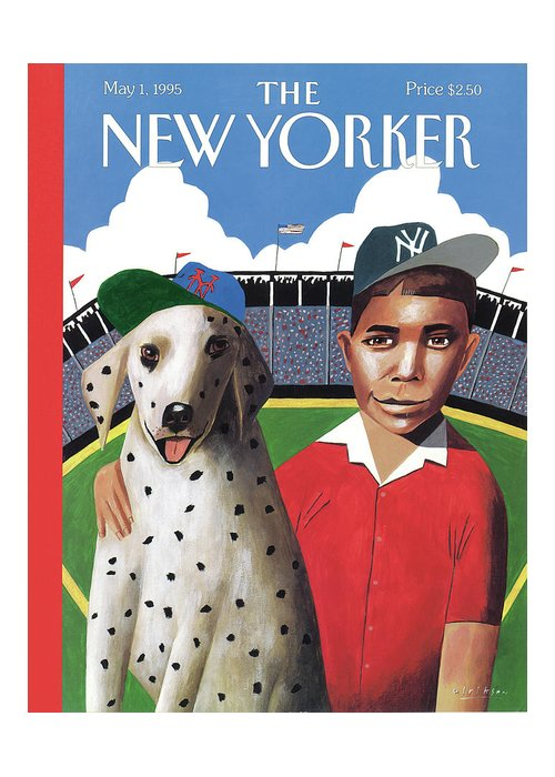 Play Ball Greeting Card featuring the painting New Yorker May 1st, 1995 by Mark Ulriksen