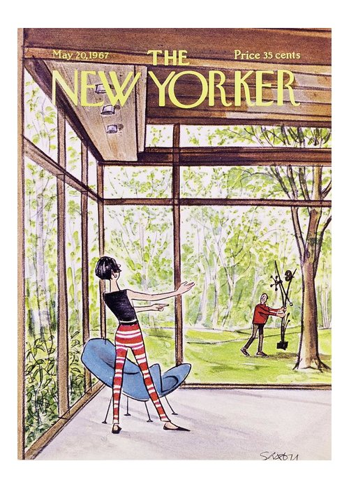 Illustration Greeting Card featuring the painting New Yorker May 20th 1967 by Charles D Saxon