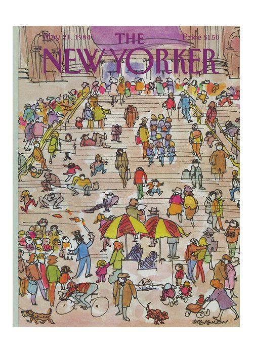 Metropolitan Museum Greeting Card featuring the painting New Yorker May 21st, 1984 by James Stevenson