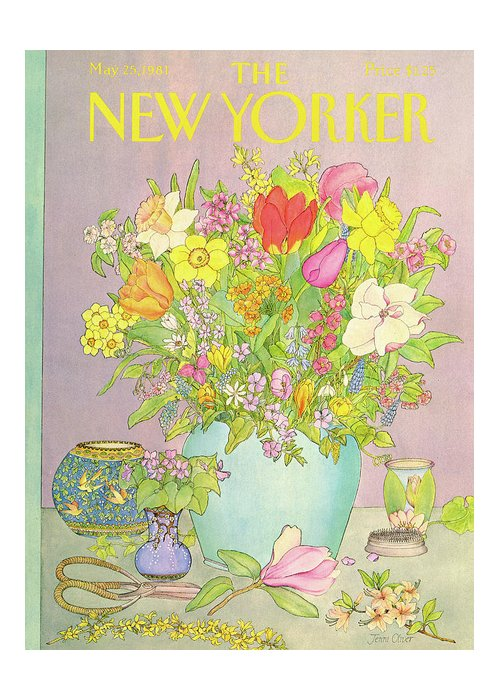 Household Greeting Card featuring the painting New Yorker May 25th, 1981 by Jenni Oliver