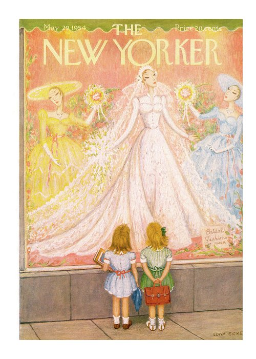 Marriage Greeting Card featuring the painting New Yorker May 29th, 1954 by Edna Eicke