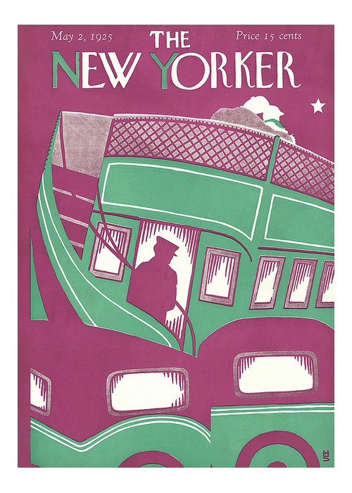 Double Decker Greeting Card featuring the painting New Yorker May 2nd, 1925 by Margaret Schloeman