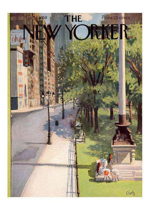 Arthur Getz Agt Greeting Card featuring the painting New Yorker May 31st, 1958 by Arthur Getz