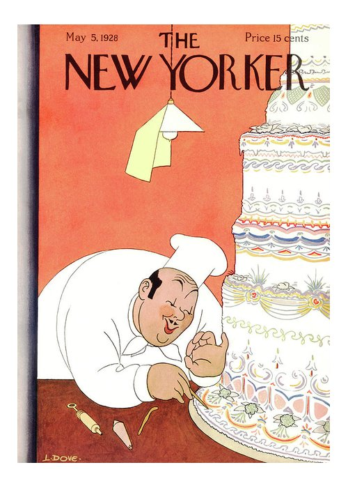 (a Baker Puts The Final Touches On A Huge Wedding Cake.) Food Marriage Weddings Relationships Love Art Deco Dessert Cooking Baking Leonard Dove Artkey 47808 Greeting Card featuring the painting New Yorker May 5th, 1928 by Leonard Dove