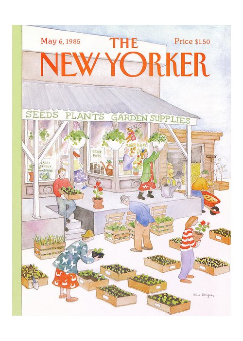 Garden Greeting Card featuring the painting New Yorker May 6th, 1985 by Anne Burgess