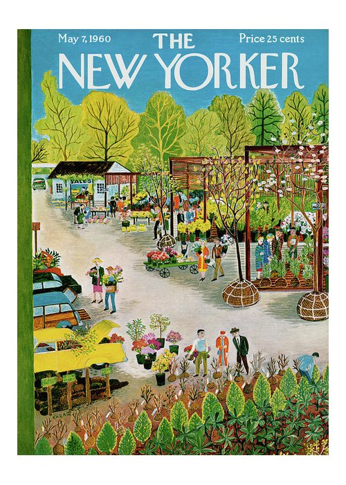 Ilonka Karasz Ika Greeting Card featuring the painting New Yorker May 7th, 1960 by Ilonka Karasz