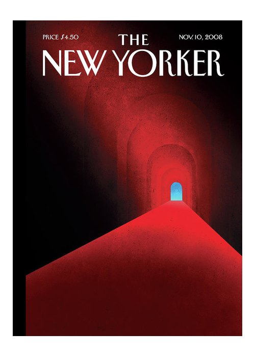 Tunnel Greeting Card featuring the painting New Yorker November 10th, 2008 by Brian Stauffer