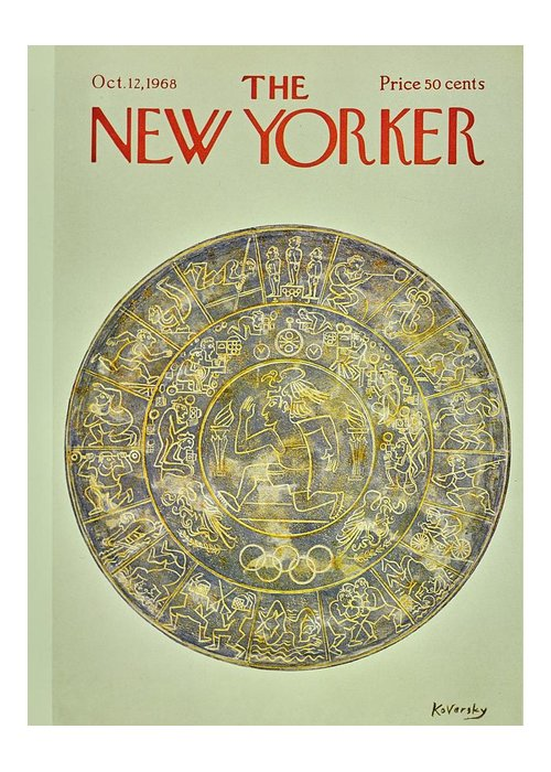 Illustration Greeting Card featuring the painting New Yorker November 12th 1968 by Anatole Kovarsky