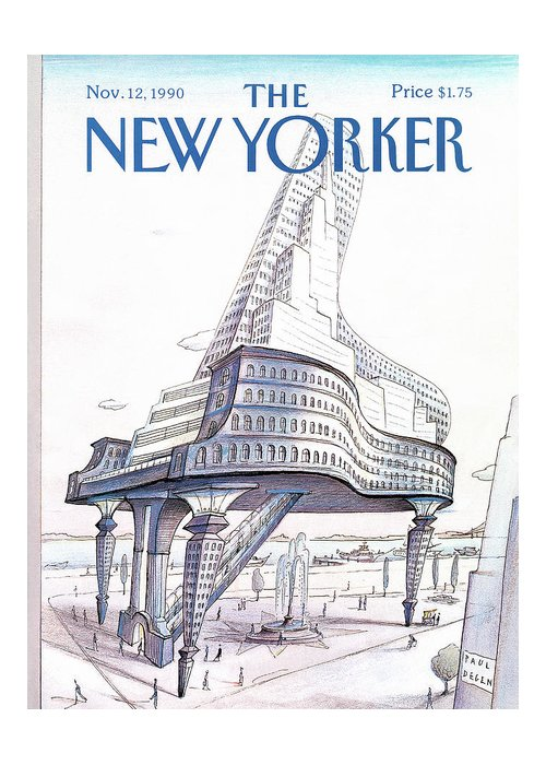 (a Large Building Greeting Card featuring the painting New Yorker November 12th, 1990 by Paul Degen