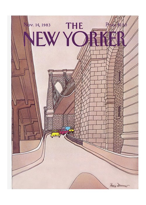 (cars And Taxis Motoring Up The Ramp To The Brooklyn Bridge.) New York City Urban Technology Architecture Automobiles Driving Travel Transportation Roxie Munro Rmu Artkey 47424 Greeting Card featuring the painting New Yorker November 14th, 1983 by Roxie Munro