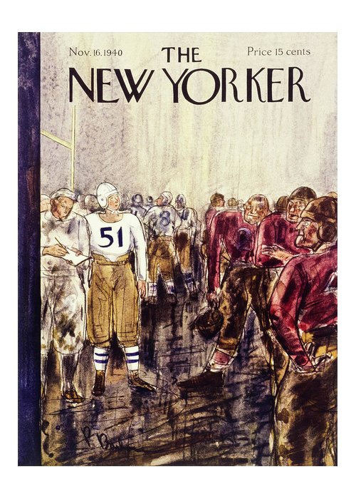 Football Greeting Card featuring the painting New Yorker November 16 1940 by Perry Barlow