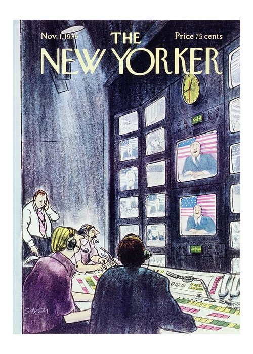 Illustration Greeting Card featuring the painting New Yorker November 1st 1976 by Charles D Saxon