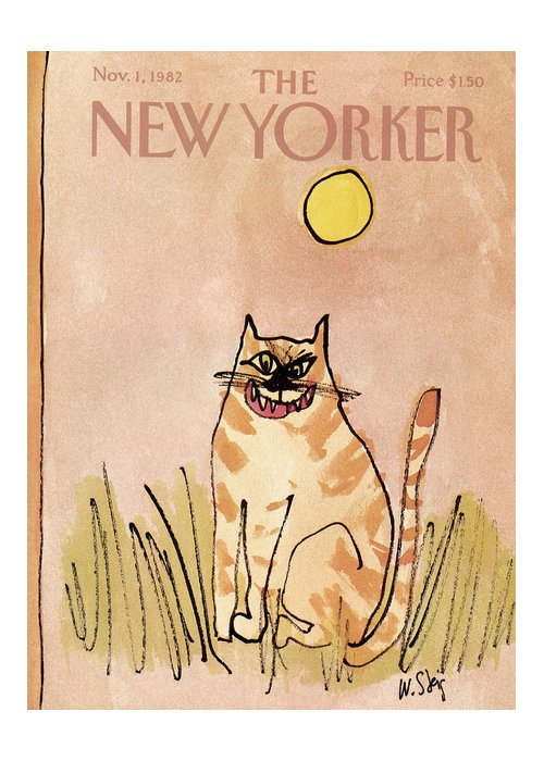 Holidays Greeting Card featuring the painting New Yorker November 1st, 1982 by William Steig