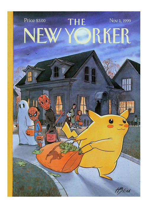 Treats Of The Trade Greeting Card featuring the painting New Yorker November 1st, 1999 by Harry Bliss