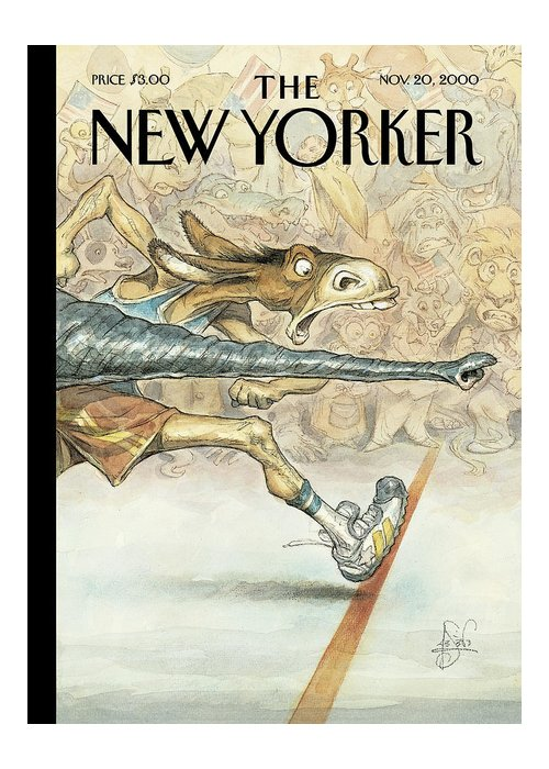 New yorker november 20th 2000 greeting card for sale by peter de seve by a nose elephant elephants donkey donkeys race racing finish line republicans republican democrat democrats m4hsunfo
