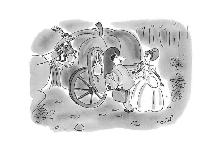 (arrogant Businessman Pushed Aside Cinderella And Climbs Into Her Pumpkin Carriage As Though It Were A Midtown Taxi) Business Greeting Card featuring the drawing New Yorker November 22nd, 1993 by Arnie Levin