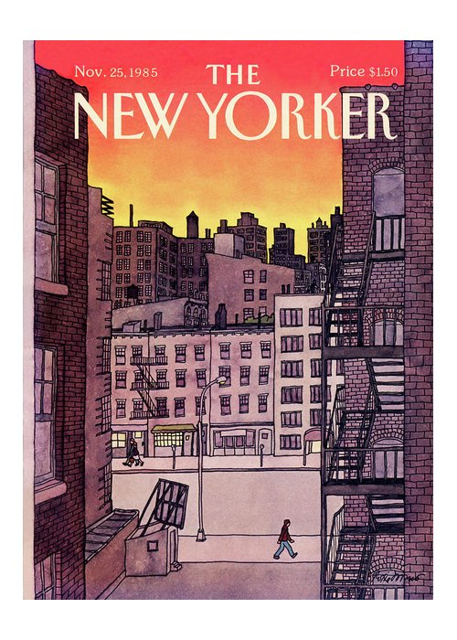New York City Greeting Card featuring the painting New Yorker November 25th, 1985 by Roxie Munro