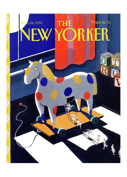 The Moon Shines Through A Window On A Child's Toy That Resembles A Trojan Horse Greeting Card featuring the painting New Yorker November 25th, 1991 by Kathy Osborn