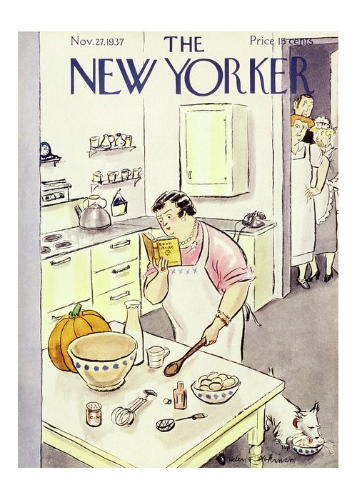 Kitchen Greeting Card featuring the painting New Yorker November 27 1937 by Helene E Hokinson