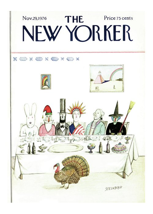 Saul Steinberg 50359 Steinbergattny Greeting Card featuring the painting New Yorker November 29th, 1976 by Saul Steinberg
