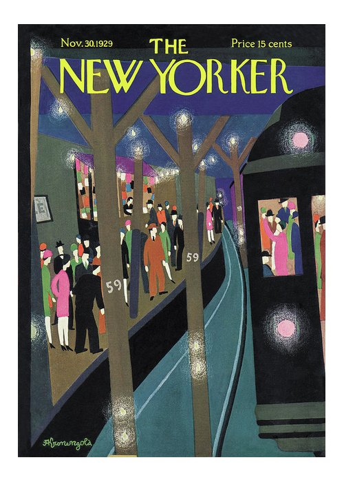 Subway Greeting Card featuring the painting New Yorker November 30th, 1929 by Adolph K Kronengold