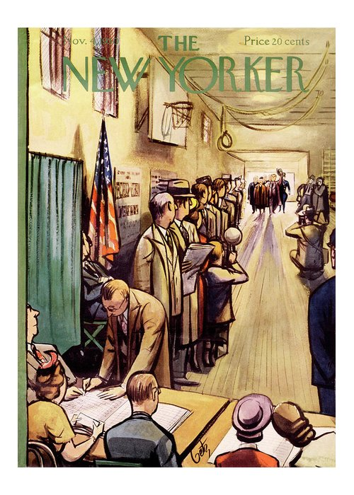 Politics Greeting Card featuring the painting New Yorker November 4th, 1950 by Arthur Getz