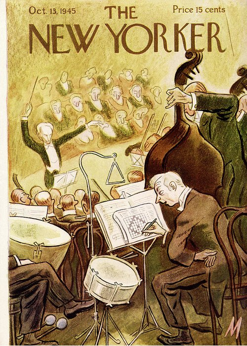 Music Orchestra Symphony Conductor Classical Music Band Percussion Percussionist Snare Drum Crossword Puzzle Performance Lincoln Carnigie Hall Julian De Miskey Jms Bodinok Artkey 48937 Greeting Card featuring the painting New Yorker October 13th, 1945 by Julian de Miskey