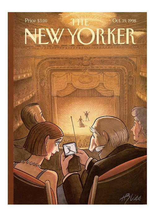 Doubleheader Greeting Card featuring the painting New Yorker October 19th, 1998 by Harry Bliss